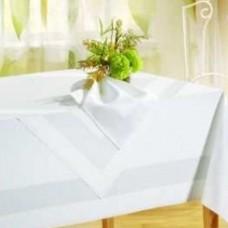 Damast-Vollzwirn-Tischwäsche Atlaskante weiß